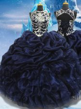 Sleeveless Floor Length Appliques and Ruffles and Pick Ups Lace Up 15th Birthday Dress with Navy Blue