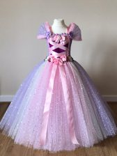 Enchanting Multi-color Tulle Side Zipper Off The Shoulder Cap Sleeves Floor Length Pageant Gowns For Girls Sequins and Bowknot