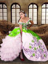 Off The Shoulder Sleeveless Lace Up Vestidos de Quinceanera Multi-color Taffeta