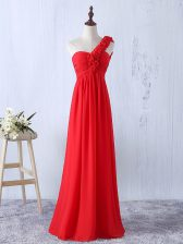 New Style Floor Length Red Vestidos de Damas One Shoulder Sleeveless Lace Up