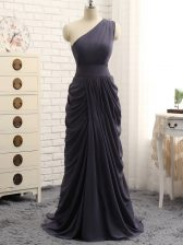 Hot Selling Grey Zipper One Shoulder Pick Ups Quinceanera Court Dresses Chiffon Sleeveless