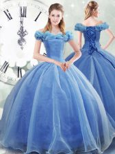 Sleeveless Pick Ups Lace Up 15th Birthday Dress with Light Blue Brush Train