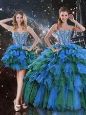 Modern Sleeveless Lace Up Floor Length Beading and Ruffles and Ruffled Layers Vestidos de Quinceanera