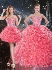 Clearance Floor Length Three Pieces Sleeveless Coral Red 15 Quinceanera Dress Lace Up