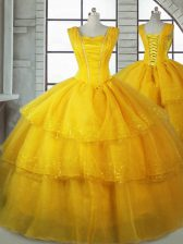 Gold Organza Lace Up Straps Sleeveless Floor Length Vestidos de Quinceanera Ruffled Layers