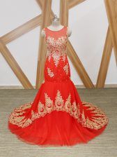 Stunning Coral Red Tulle Zipper Dress for Prom Sleeveless Brush Train Beading and Lace and Appliques