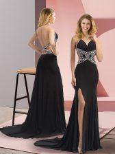 Modest Black Backless Prom Dresses Beading Sleeveless Sweep Train