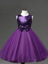 Sequins and Bowknot Little Girl Pageant Gowns Purple Zipper Sleeveless Tea Length
