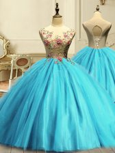 Romantic Sleeveless Tulle Floor Length Lace Up Ball Gown Prom Dress in Aqua Blue with Appliques and Sequins
