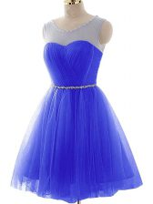 Sleeveless Mini Length Beading and Ruching Lace Up Prom Dresses with Blue