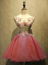 Coral Red Sleeveless Mini Length Embroidery Lace Up Homecoming Dress