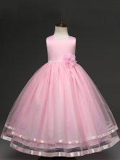 Baby Pink Sleeveless Hand Made Flower Floor Length Little Girls Pageant Dress Wholesale