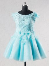 Stunning Aqua Blue Backless Lace and Appliques and Hand Made Flower Short Sleeves Mini Length