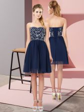 High End Sleeveless Mini Length Beading Lace Up Homecoming Dress with Navy Blue