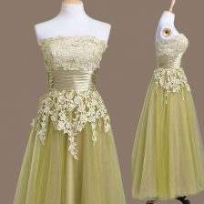 Chic Sleeveless Lace Up Tea Length Appliques Quinceanera Dama Dress