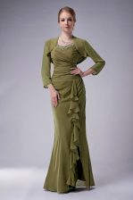 Olive Green Prom Party Dress Prom and Party with Beading Straps Sleeveless Zipper