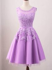 Lilac Lace Up Scoop Lace Quinceanera Court of Honor Dress Tulle Sleeveless