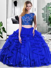 Traditional Floor Length Zipper Quinceanera Gowns Royal Blue for Military Ball and Sweet 16 and Quinceanera with Lace and Ruffles
