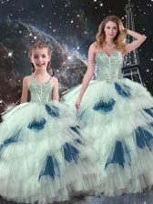 Artistic Sleeveless Lace Up Floor Length Beading and Ruffled Layers Sweet 16 Dress