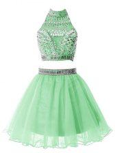 Two Pieces Dama Dress Apple Green Halter Top Organza Sleeveless Mini Length Zipper