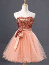 Best Peach Sleeveless Mini Length Sequins Zipper Dress for Prom