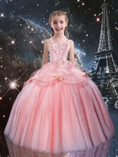 Tulle Sleeveless Floor Length Little Girls Pageant Dress Wholesale and Beading