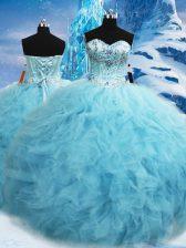 Romantic Floor Length Ball Gowns Sleeveless Aqua Blue 15th Birthday Dress Lace Up