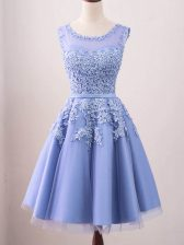 Lavender Damas Dress Prom and Party and Wedding Party with Lace Scoop Sleeveless Lace Up