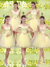 Lovely V-neck Sleeveless Lace Up Quinceanera Dama Dress Light Yellow Tulle