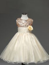 Enchanting Champagne Zipper Kids Pageant Dress Sequins and Hand Made Flower Sleeveless Knee Length