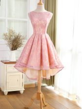 Noble Pink Lace Backless Bateau Sleeveless High Low Homecoming Dress Lace and Appliques