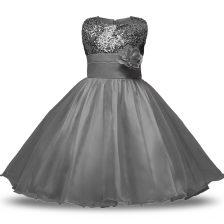Best Bowknot and Belt and Hand Made Flower Flower Girl Dress Grey Zipper Sleeveless Knee Length