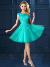 Fashionable Tulle Bateau Cap Sleeves Lace Up Lace and Belt Dama Dress for Quinceanera in Turquoise