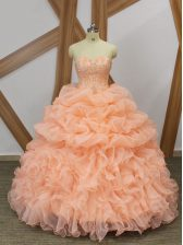 Sleeveless Organza Sweep Train Lace Up Quinceanera Dresses in Peach with Beading and Ruffles and Pick Ups