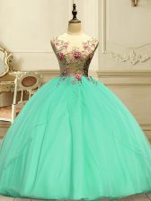 Apple Green Organza Lace Up Sweet 16 Dresses Sleeveless Floor Length Appliques