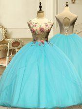 Most Popular Aqua Blue Lace Up Vestidos de Quinceanera Appliques Sleeveless Floor Length