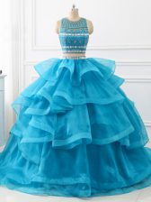 Scoop Sleeveless Tulle Quince Ball Gowns Beading and Ruffles Brush Train Backless