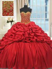 Pretty Red 15 Quinceanera Dress Sweetheart Sleeveless Brush Train Lace Up