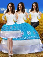 Deluxe Blue And White Sweet 16 Quinceanera Dress Military Ball and Sweet 16 and Quinceanera with Embroidery and Ruffles Off The Shoulder 3 4 Length Sleeve Lace Up
