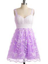 Designer Sleeveless Lace Up Knee Length Lace Damas Dress
