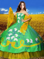 Exquisite Multi-color Taffeta Lace Up Quinceanera Gowns Sleeveless Floor Length Embroidery