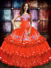 Floor Length Orange Red 15 Quinceanera Dress Taffeta Sleeveless Embroidery and Ruffled Layers