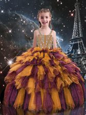 Orange Lace Up Straps Beading and Ruffles Little Girls Pageant Dress Wholesale Tulle Sleeveless