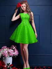 Stunning Sleeveless Beading and Lace Lace Up Quinceanera Dama Dress