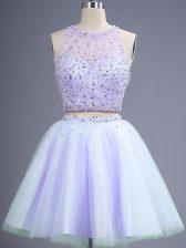 Glittering Knee Length Lavender Court Dresses for Sweet 16 Tulle Sleeveless Beading