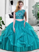 Enchanting Teal Zipper Scoop Lace and Embroidery and Ruffles Vestidos de Quinceanera Tulle Sleeveless