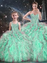 Glorious Turquoise Ball Gowns Beading and Ruffles Quinceanera Dresses Lace Up Organza Sleeveless Floor Length