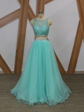 Tulle Sleeveless Floor Length Prom Dresses and Beading