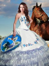 Most Popular White Square Neckline Embroidery and Ruffled Layers Quinceanera Gowns Sleeveless Lace Up