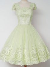 Shining Square Cap Sleeves Court Dresses for Sweet 16 Knee Length Lace Yellow Green Tulle